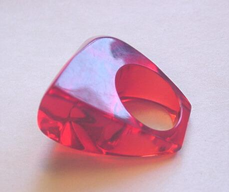 Vintage Jewelry Large Cherry Red Lucite Ring