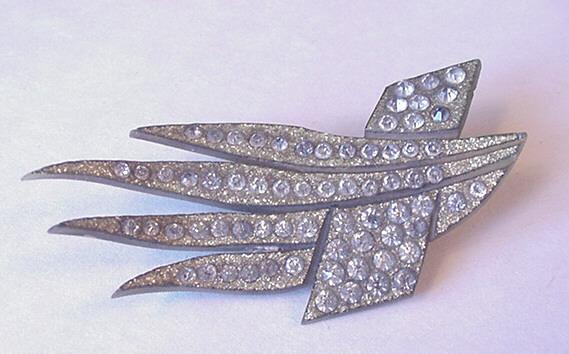 Vintage Jewelry Carved Celluloid and Rhinestone Pin