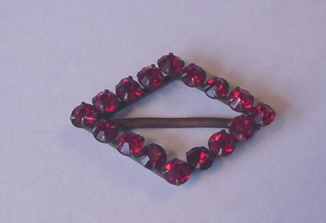 Vintage Jewelry Ruby Red Rhinestone Czech Buckle