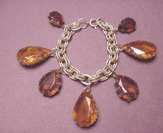 Vintage Jewelry Large Topaz Rhinestones Bracelet