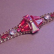 Vintage Jewelry Superb Ruby Red Large Rhinestone Bracelet