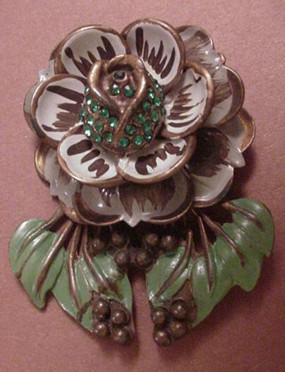 Vintage Jewelry Large Enameled and Rhinestone Flower Dress Clip