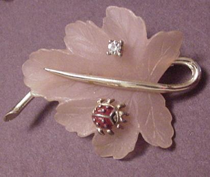 Vintage Jewelry Plastic Leaf Pin set with a Lady Bug and Rhinestone