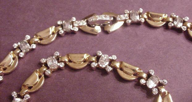 Vintage Jewelry Mazer Bros. Rhinestone Necklace and Bracelet