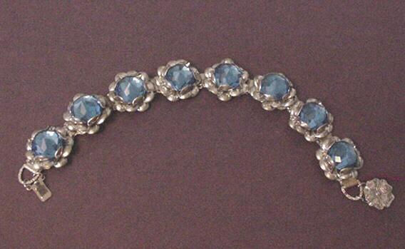 Silver Tone with Large Sapphire Blue Glass Beyond Rivoli Stones