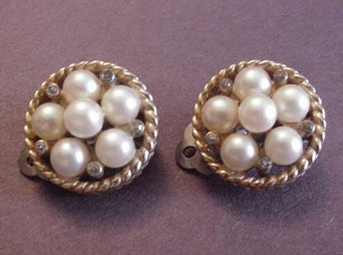Jomaz Faux Pearl and Rhinestone Earrings