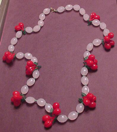 Faux Carved Moonstone with Plastic Cherries / Cherry  Necklace
