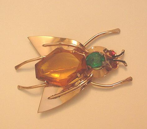 Vintage Coro Sterling Silver and Rhinestone BIG Bug pin