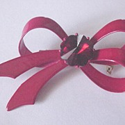Vintage Red Enamel and Rhinestone Bow Pin