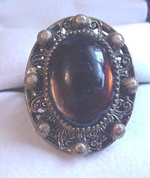 Vintage Czech Topaz Glass Brass Ring