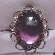 Vintage Amethyst Glass Rhinestone and Brass Ring