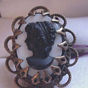 Vintage Black Glass Cameo in Brass Ring