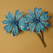 Vintage Double Blue Enameled Tiger Lily Pin