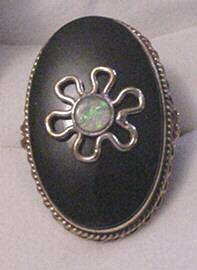 14 KT Onyx and Opal Victorian Revival Ring