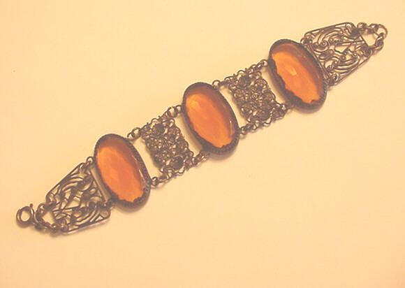 Late Victorian - Edwardian Topaz / Citrine Rhinestone Bracelet