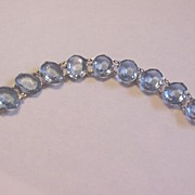 Vintage Czech Glass Bracelet Faux Blue Topaz