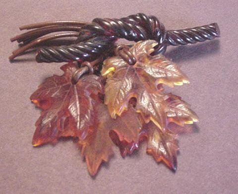 Dangling Lucite Leaves Drop Pin