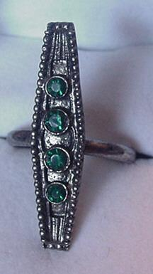 Victorian Revival Ring by Vogue with Green Rhinestones