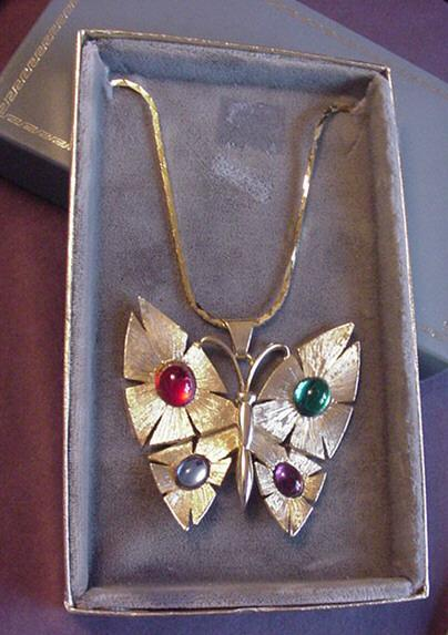 Vintage Large Rhinestone Butterfly Necklace in Original Box