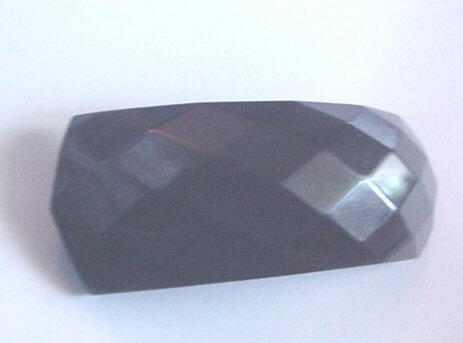 Chunky Black Faceted Vintage Bakelite Pin