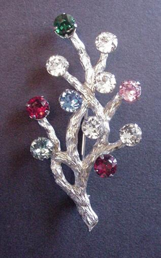 Vintage Sterling Silver Van Dell Rhinestone Tree Pin