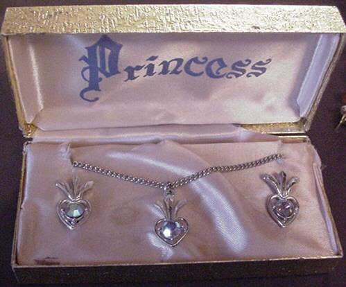 Vintage Princess Necklace and Earrings set in Original Box