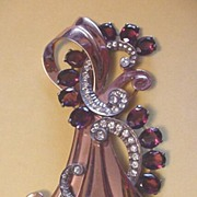 Superb Rose Gold over Sterling Silver Purple Rhinestone Pin