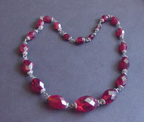 Vintage Vibrant Ruby Red Crystal Choker Necklace