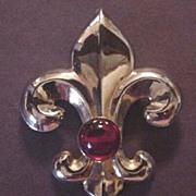Large Vintage Red Rhinestone Fleur de lis Pin
