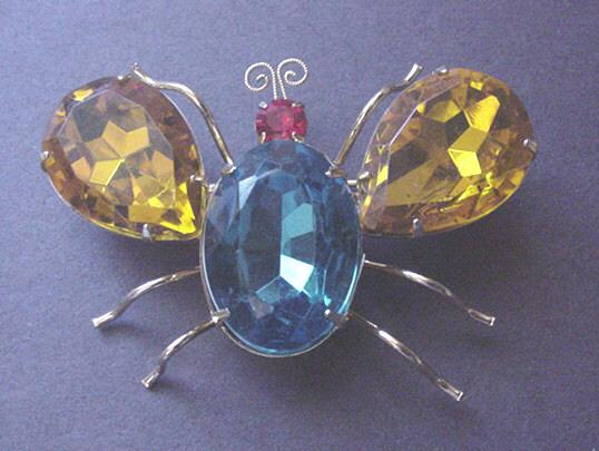 Large Vintage Rhinestone Butterfly Pin