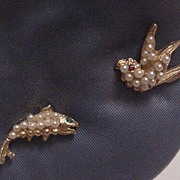 Vintage Faux Seed Pearl and Rhinestone Tac Pins Bird and Fish