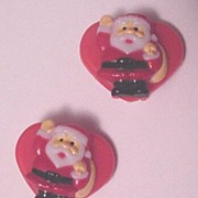 Vintage Plastic Christmas Pin Santa Claus on Heart Earrings