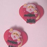 Vintage Plastic Christmas Pin Santa Claus on Heart Earrings