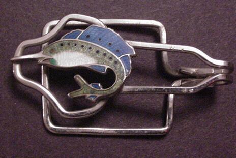 Vintage Enamel Fish Tie Clasp / clip