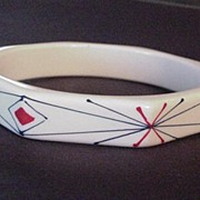 Vintage Hand Painted Geometric Designed Plastic Bangle Bracelet