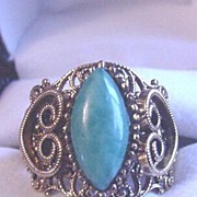 Vintage Victorian Revival Filigree Green Rhinestone Ring
