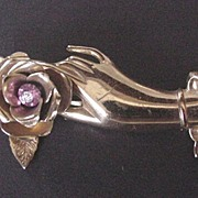 Vintage Jewelry Coro Hand Pin with a Pink Rhinestone
