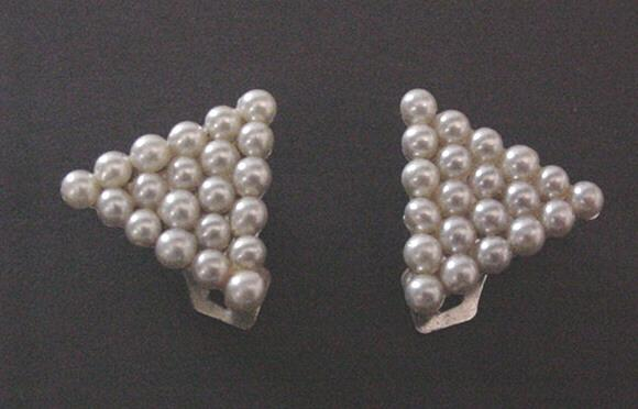 Vintage Jewelry Faux Pearl Dress Clips in an Art Deco Style
