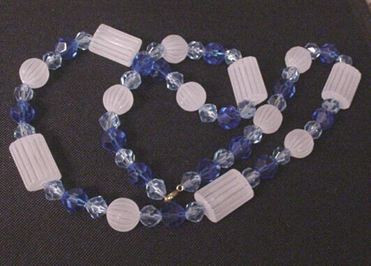 Vintage Frosted Clear and Faceted Cobalt Blue Prystal Necklace