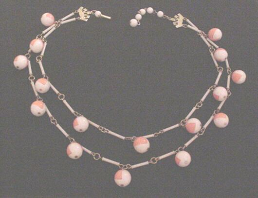 Vintage 1960's Art Deco Inspired Double Strand Peach and White Necklace