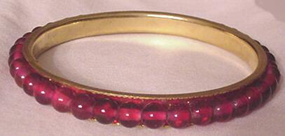 Vintage Ruby / Garnet Red Glass and Brass Bangle Bracelet