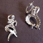 Vintage Rhinestone Western Square Dancer Pins