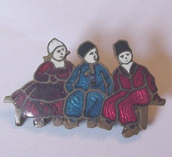 Beautiful Old Czech Enameled Figural Pin