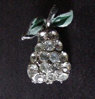 Vintage Rhinestone Fruit / Pear Pin