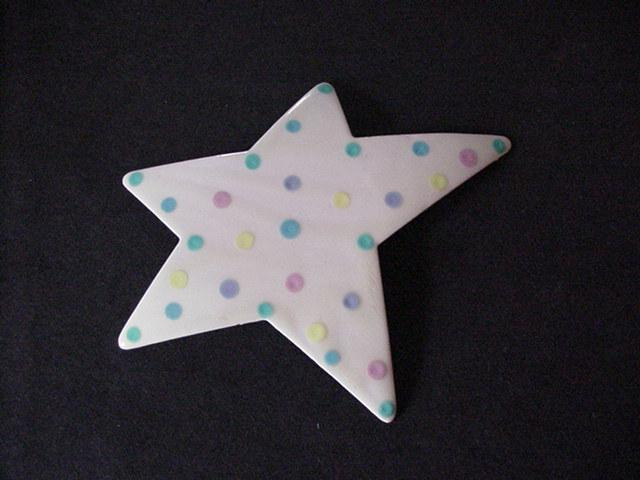 Big Vintage Pale Pink Enameled Star Pin