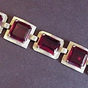 Huge Emerald Cut Ruby Red Rhinestone Bracelet