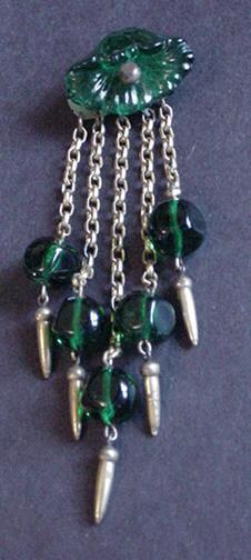 Miriam Haskell Green Glass Flower and Bead Dangles Pin