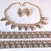 Superb Vintage Citrine and Topaz Rhinestone Necklace  Bracelet s  and Earrings