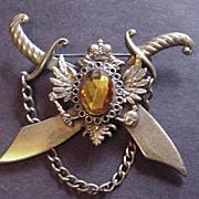 Vintage Style Metal Heraldic Style Rhinestone Pin