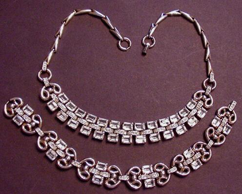 Trifari Rhinestone Necklace and Bracelet Clear Emerald Cuts